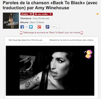 Paroles de Back to Black